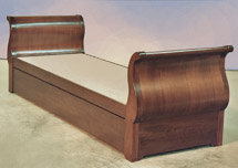Click to view larger photo of walnut sleigh style bed