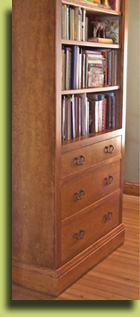 custom walnet bookcase built with high quality craftsmanship