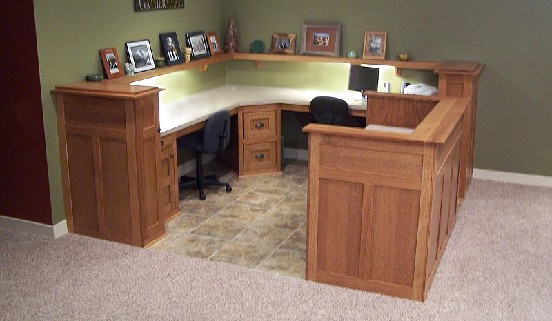 To View Larger Photo Of Quality Built In Oak Dual Desks